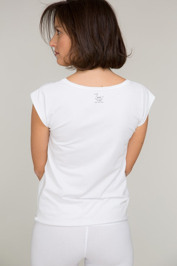 chandra t-shirt per yoga bianca