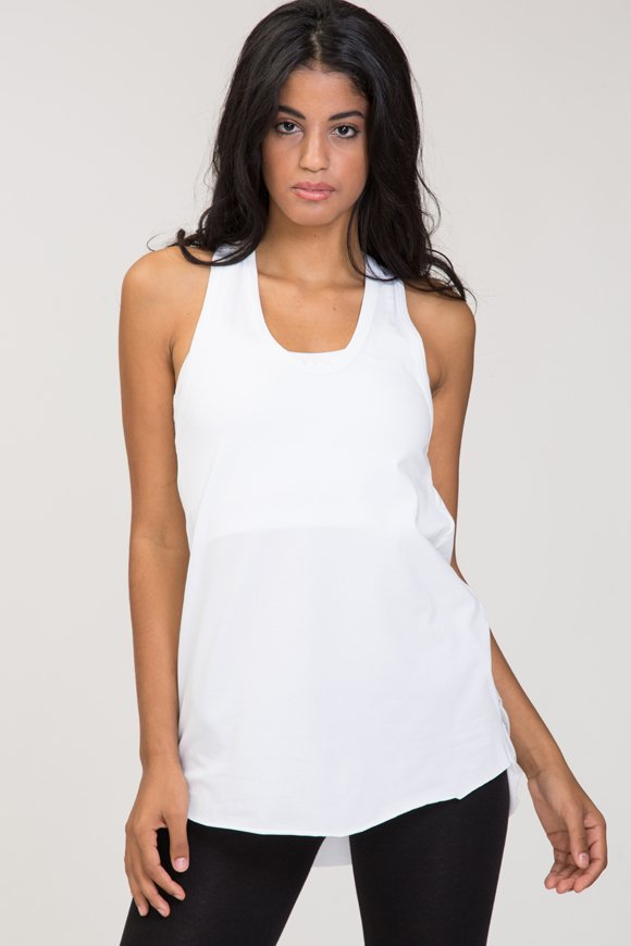 Deva yoga tank top white in stretch cotton with print on the back