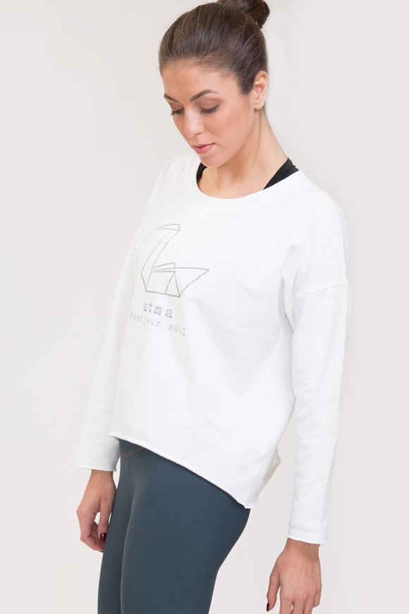 Felpa abbigliamento yoga bianco di cotone con logo swan atma immagine laterale