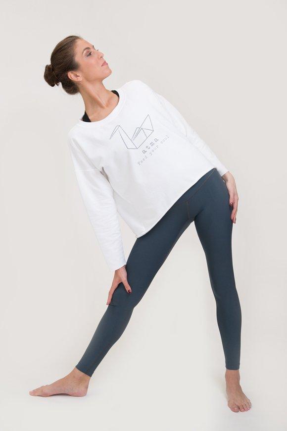 Felpa yoga abbigliamento di cotone bianco atma immagine laterale