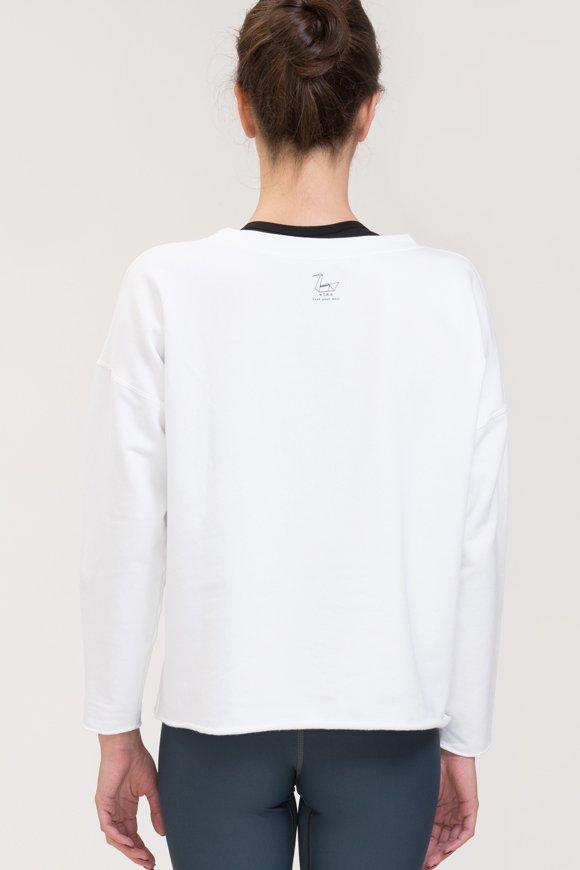 Felpa yoga abbigliamento di cotone bianco vista posteriore