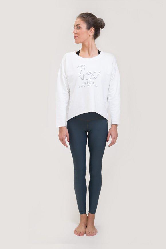Felpa abbigliamento yoga bianco di cotone immagine intera