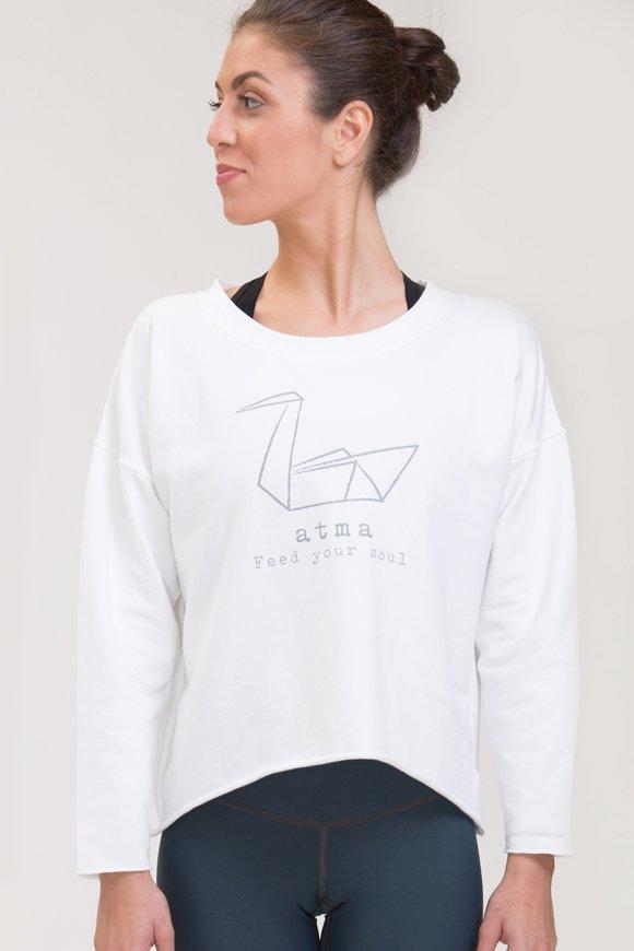 Felpa abbigliamento yoga bianco di cotone con logo swan atma