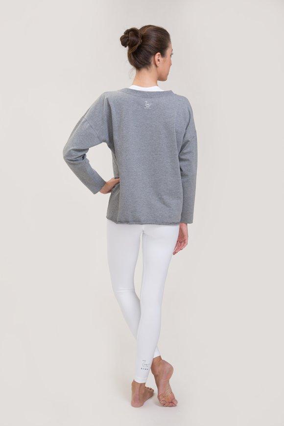 Felpa abbigliamento yoga grigio melange di cotone con logo swan atma vista retro immagine intera