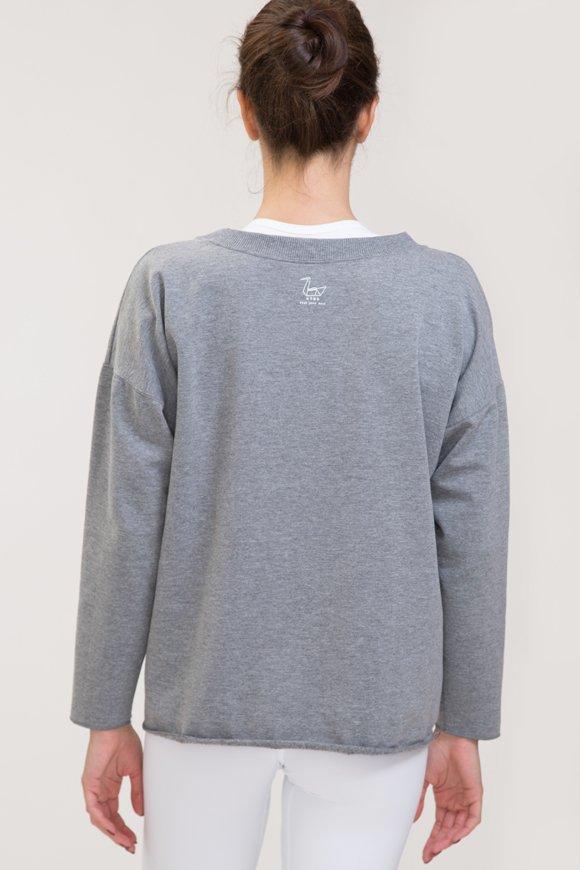 Felpa abbigliamento yoga grigio melange di cotone vista retro