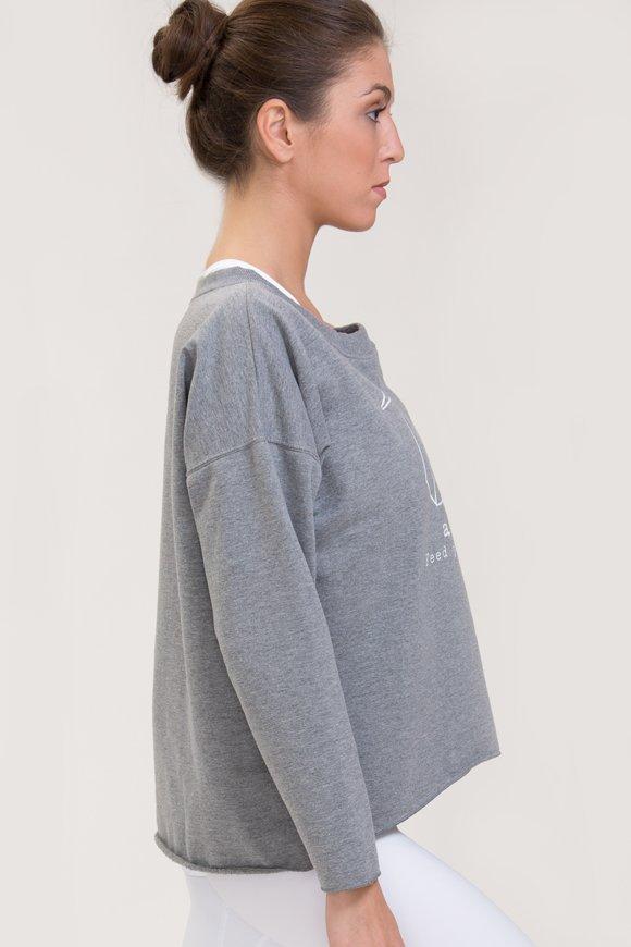 Felpa abbigliamento yoga grigio melange di cotone vista laterale