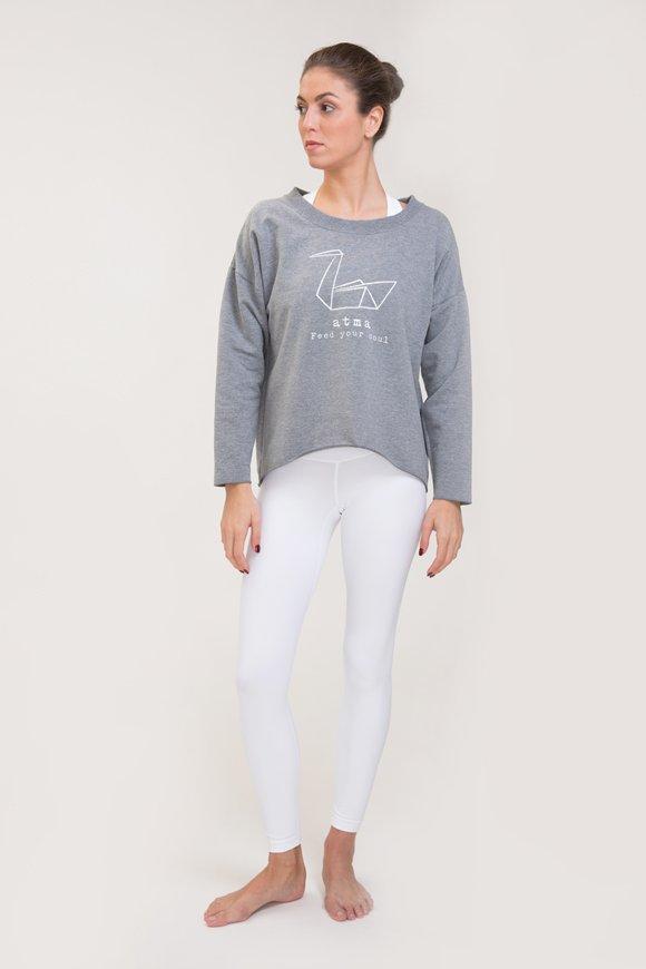 Felpa abbigliamento yoga grigio melange di cotone con logo swan atma immagine intera