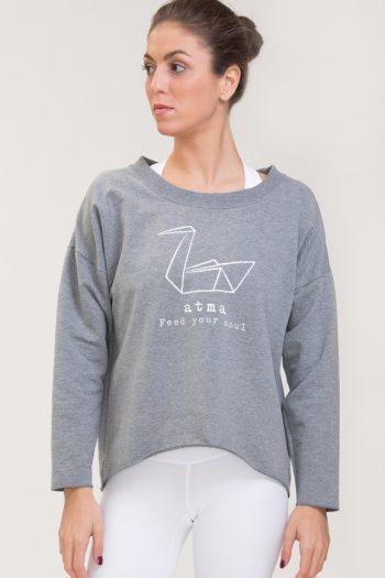 Felpa abbigliamento yoga grigio melange di cotone con logo swan atma