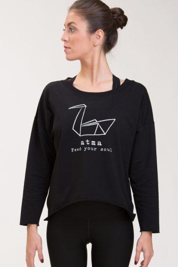 Abbigliamento yoga felpa di cotone nero con logo atma