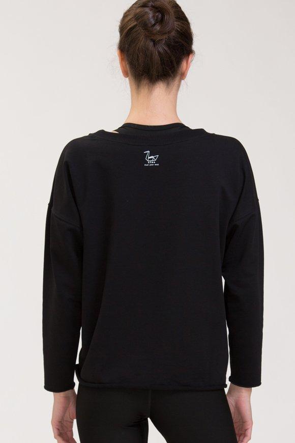Abbigliamento yoga felpa di cotone nero con logo swan atma piccolo immagine posteriore