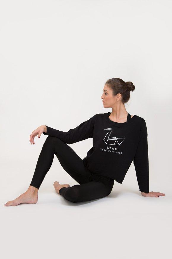 Abbigliamento yoga felpa di cotone garzato nero