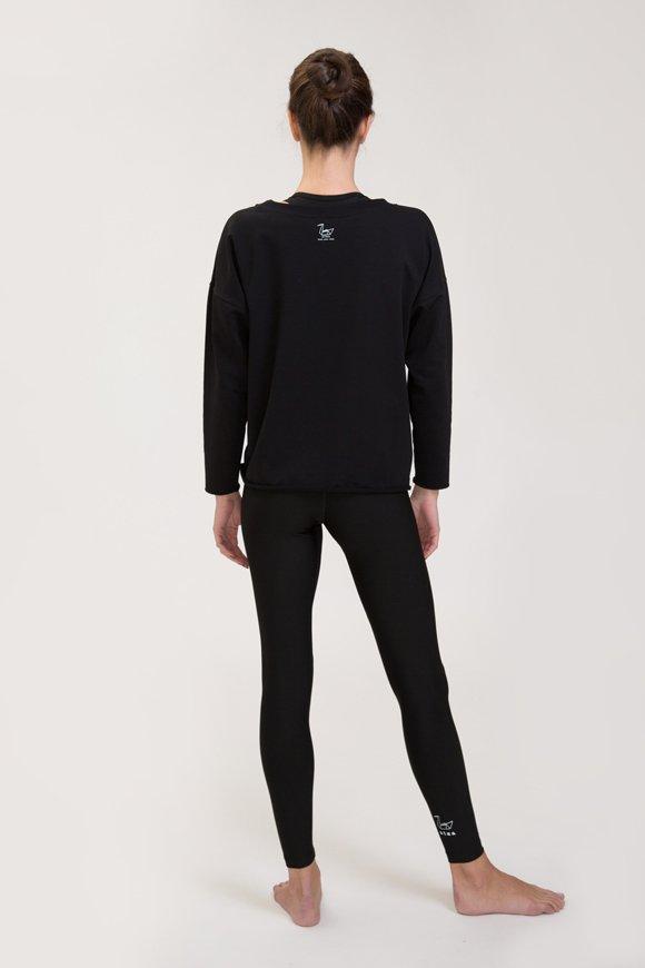 Abbigliamento yoga felpa di cotone nero immagine intera posteriore