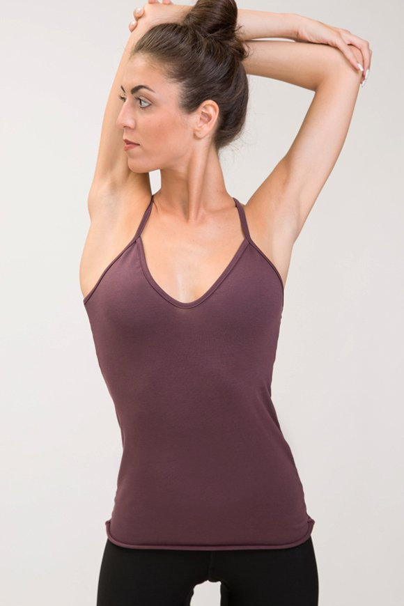 tank top in cotton modal color plum made in Italy