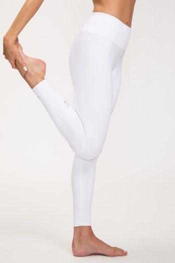 Leggings per praticare yoga in poliammide bianco made in italy