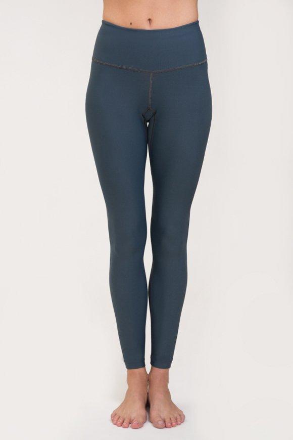 Leggings per praticare yoga in poliammide grigio antracite made in italy