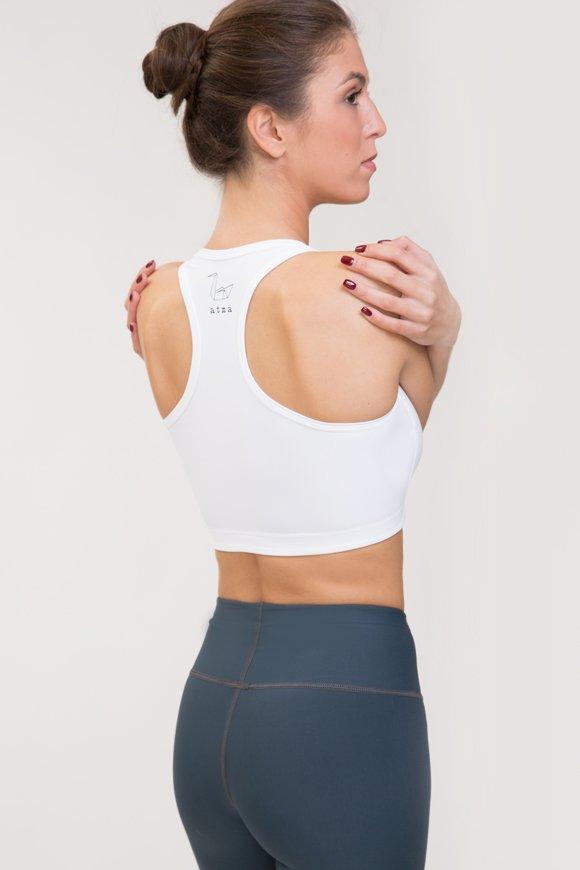 Top per praticare yoga in poliammide bianco made in italy