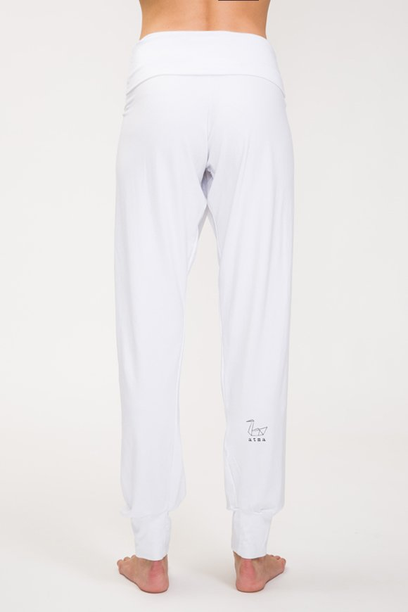 pantalone stile indiano in cotone modal colore bianco made in italy
