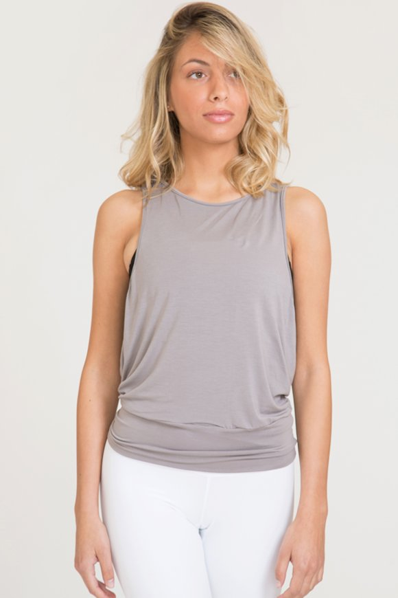 karma tank top yoga clothing woman made in Italy stone color