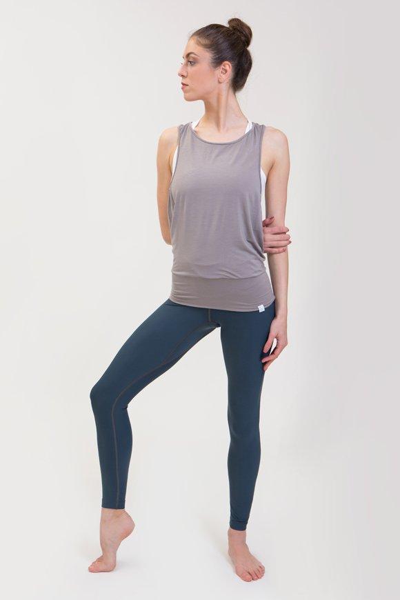 canotta karma abbigliamento yoga donna made in Italy colore pietra