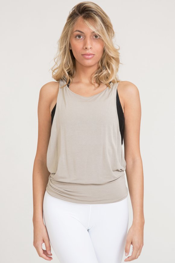 karma tank top yoga clothing made in Italy color sand