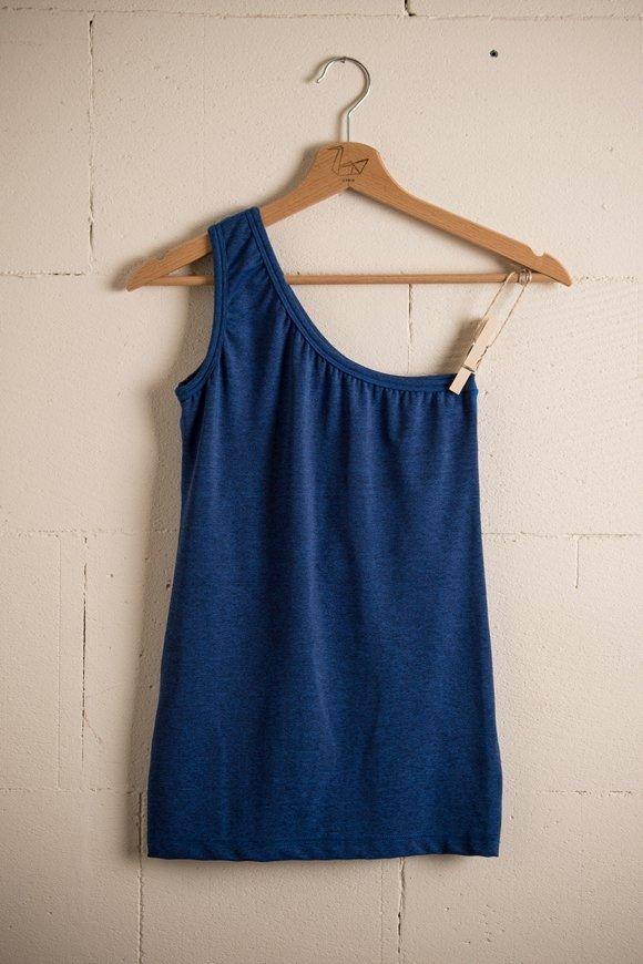 canotta kashi abbigliamento yoga donna made in Italy colore bluette