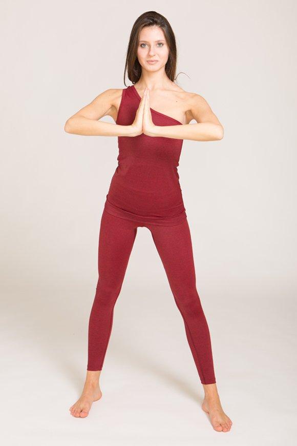 canotta kashi abbigliamento yoga donna made in Italy colore rubino