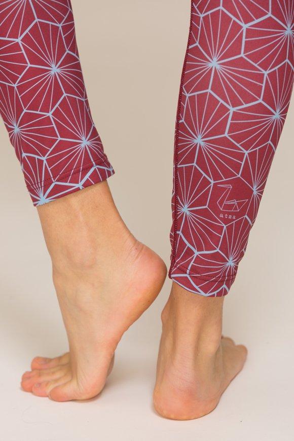 leggings atma abbigliamento yoga donna made in Italy colore bordeaux azzurro