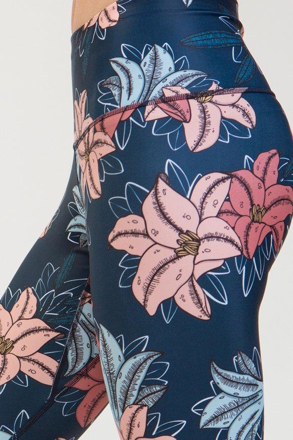 leggings lily abbigliamento yoga donna made in Italy colore blu rose
