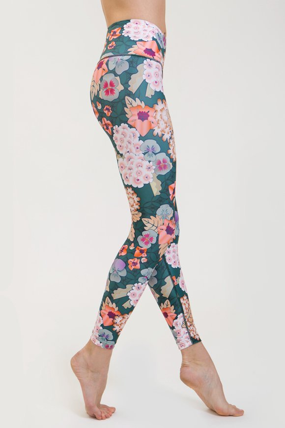 zen leggings yoga clothing for woman made in Italy green floral color