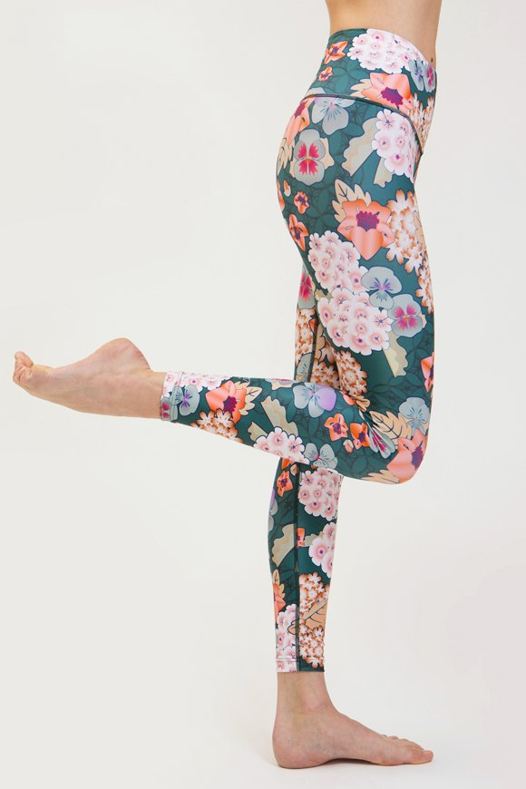 leggings zen abbigliamento yoga donna made in Italy colore verde floreale