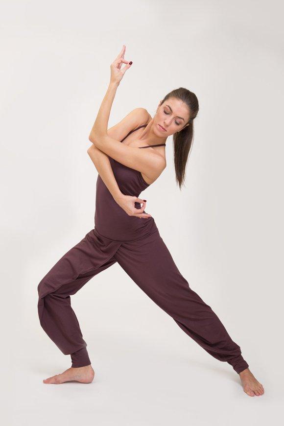 pantalone lakshmi abbigliamento yoga donna made in Italy colore prugna