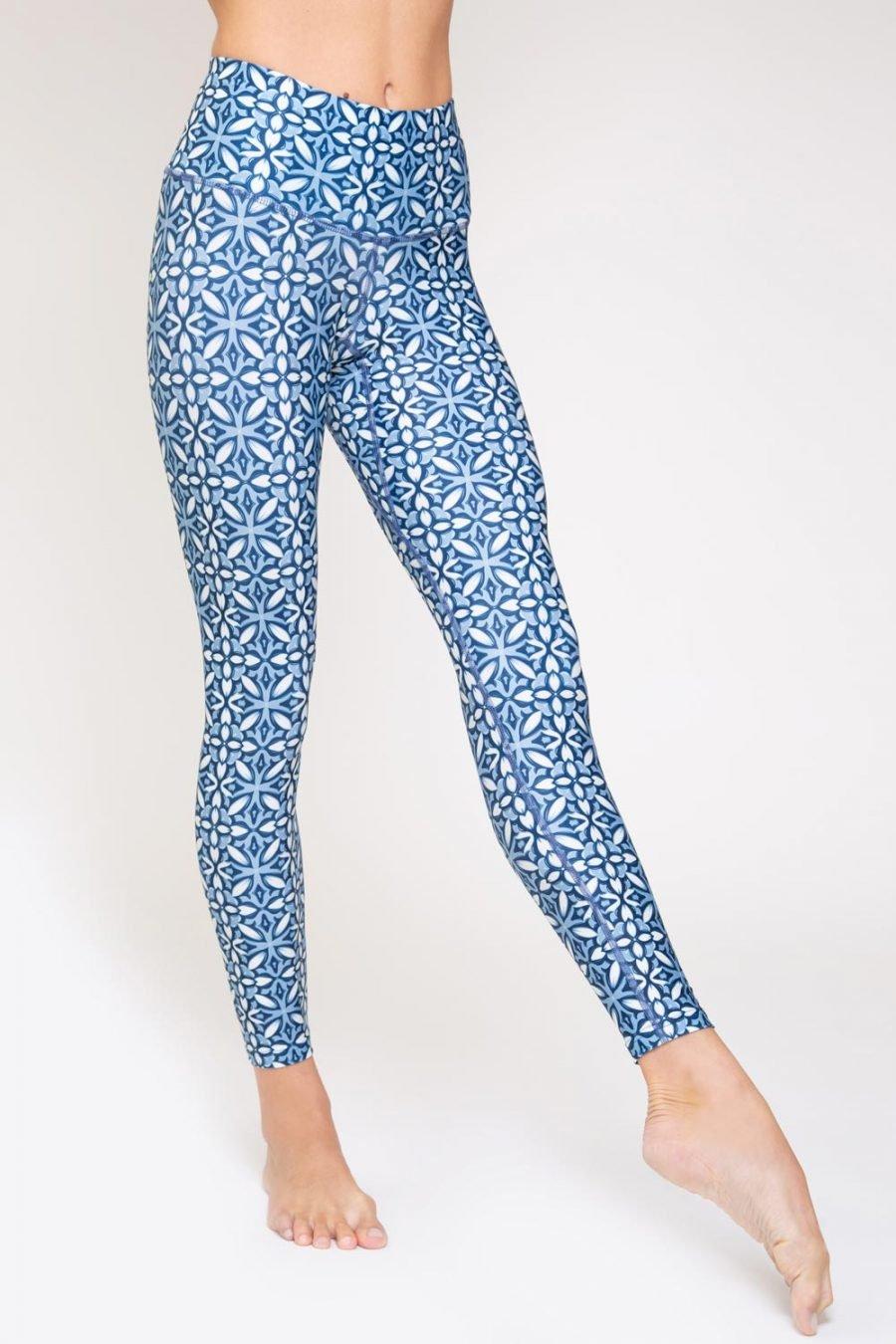 leggings mosaico abbigliamento yoga donna made in Italy colore blu