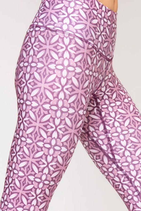 leggings mosaico abbigliamento yoga donna made in Italy colore rosa