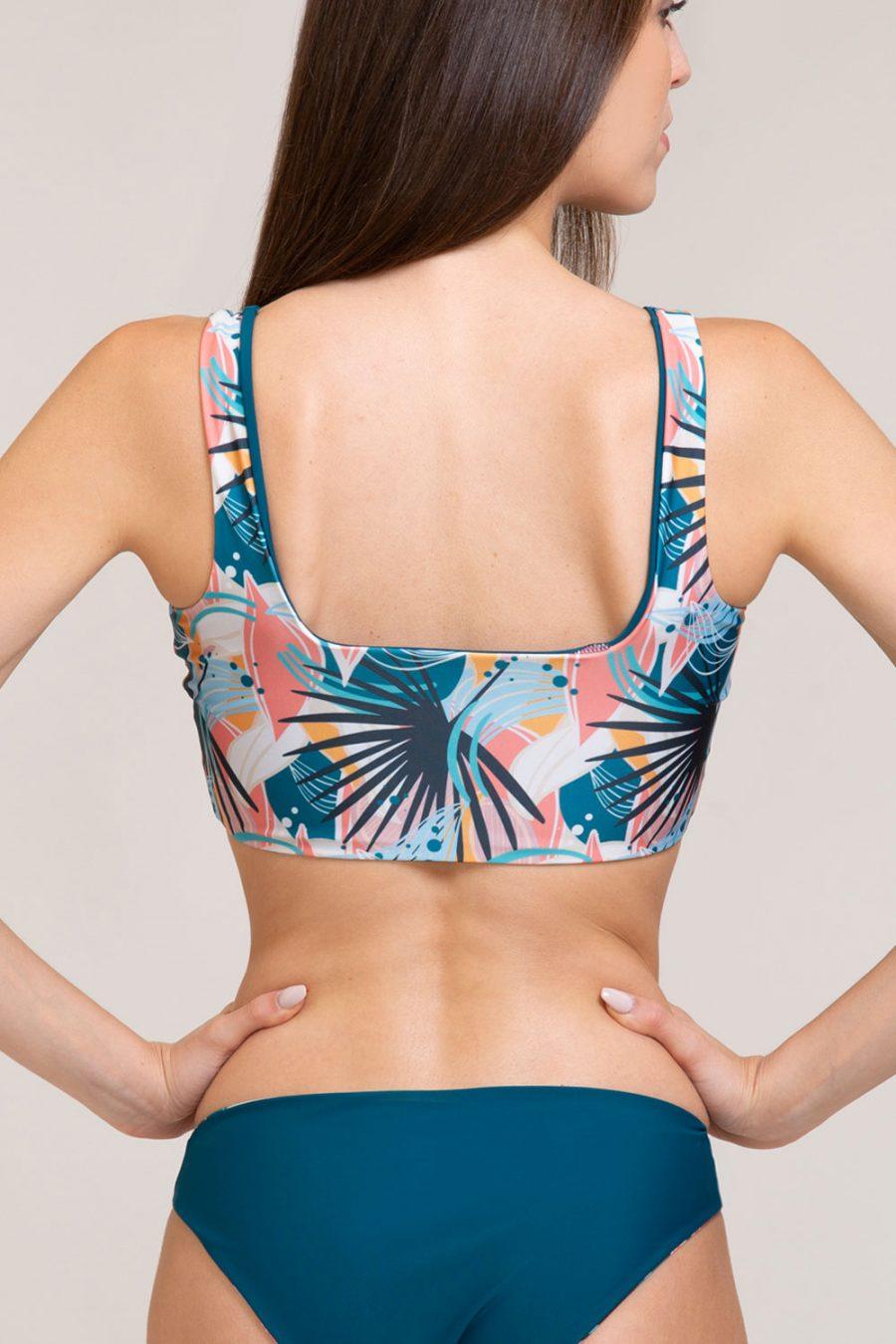 bikini top anita double face abbigliamento yoga donna made in Italy colore verde tropical
