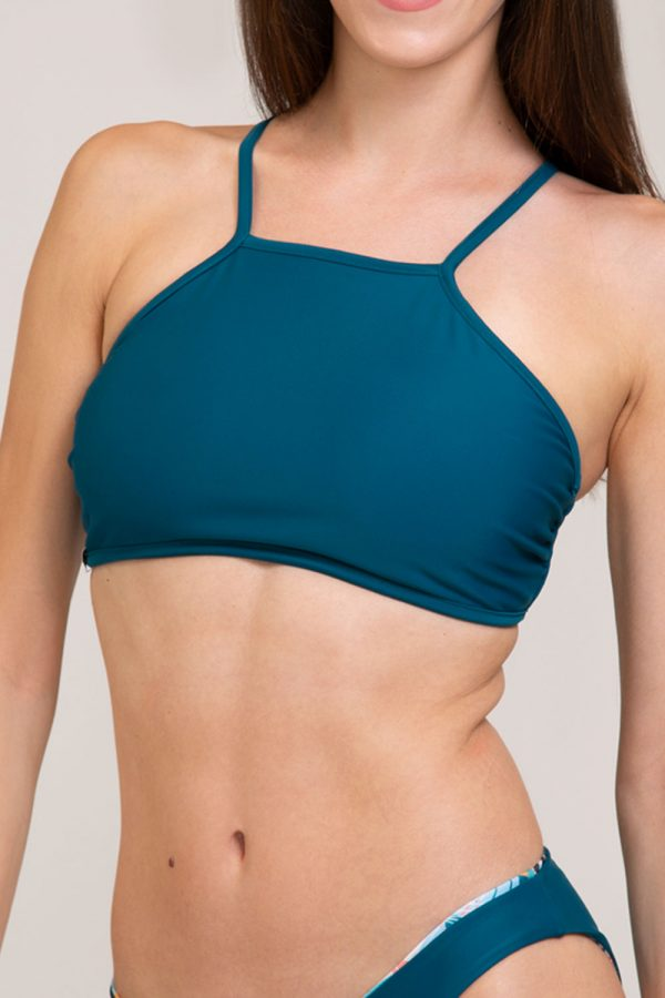 bikini top asia double face abbigliamento yoga donna made in Italy colore verde tropical