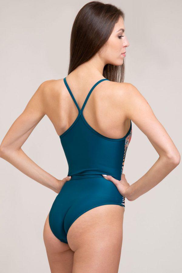 costume intero amelia abbigliamento yoga donna made in Italy colore verde tropical