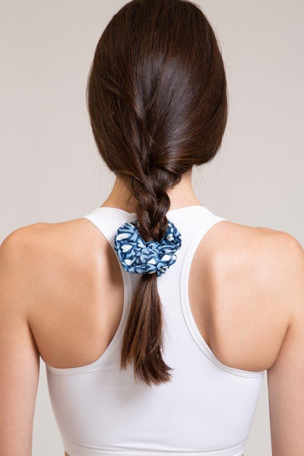 scrunchie mosaico abbigliamento yoga donna made in Italy colore blu