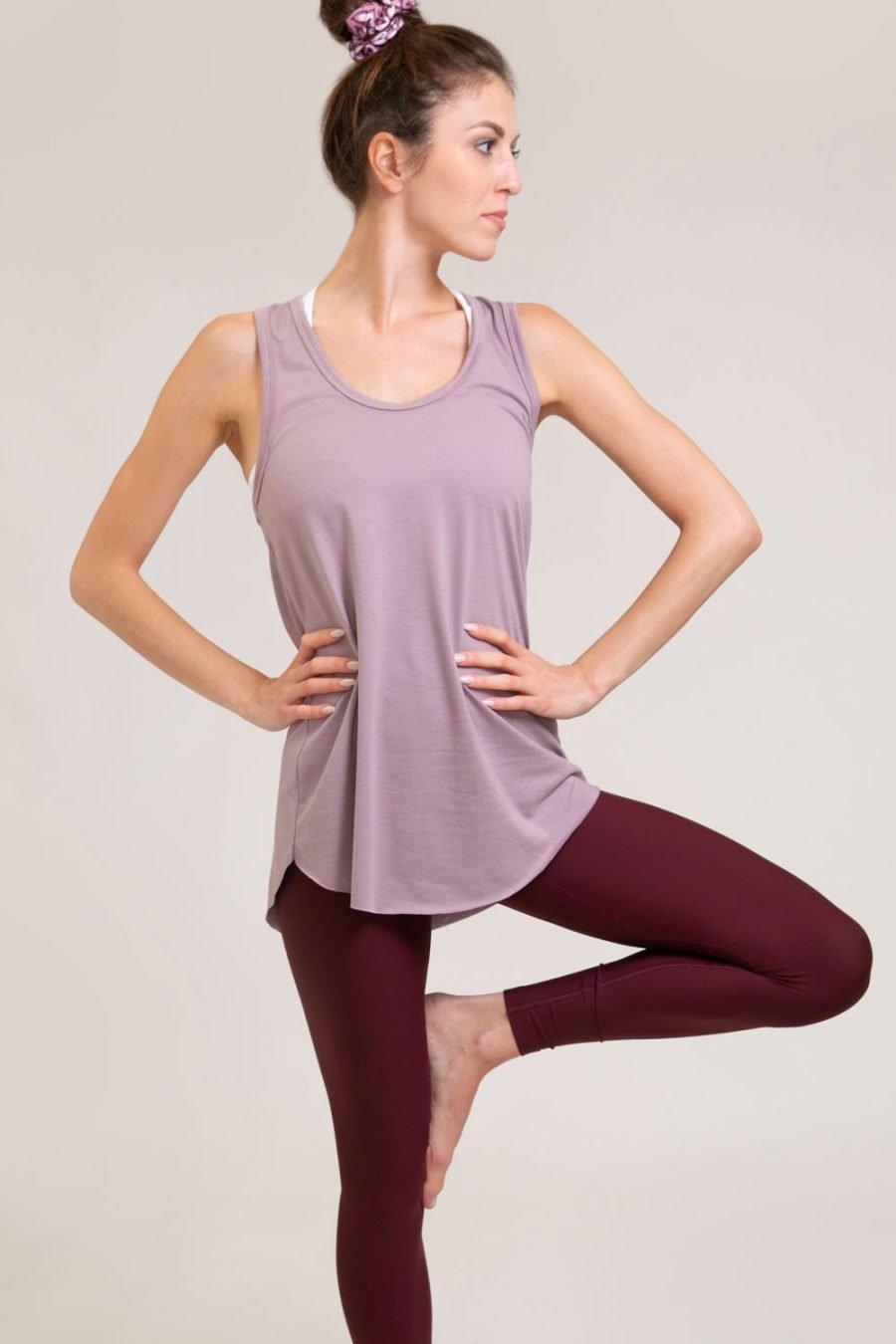 canotta new deva abbigliamento yoga donna made in Italy colore malva ecosostenibile