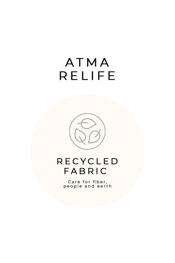 etichetta atma relife abbigliamento in tessuto riciclato