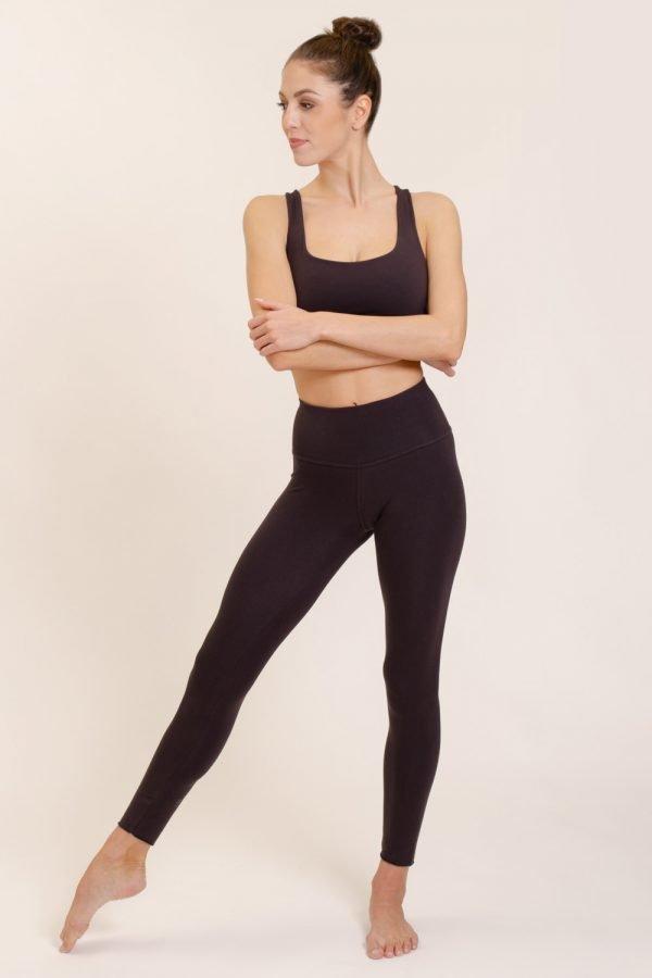leggings vira abbigliamento yoga donna made in Italy colore melanzana