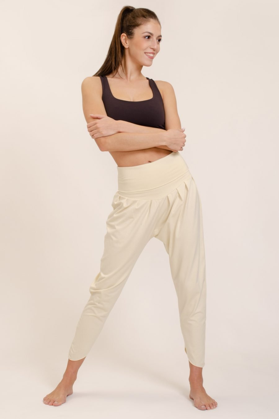 pantalone shakti abbigliamento yoga donna made in Italy colore crema