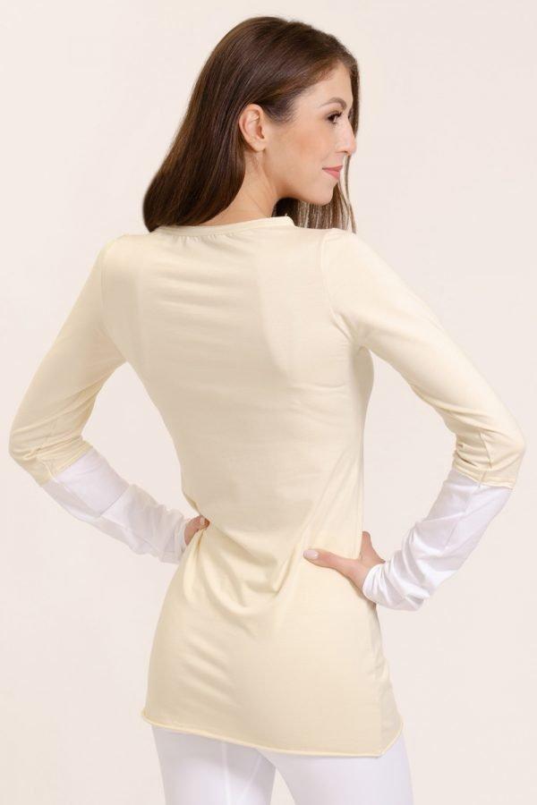 t-shirt asha abbigliamento yoga donna made in Italy colore crema
