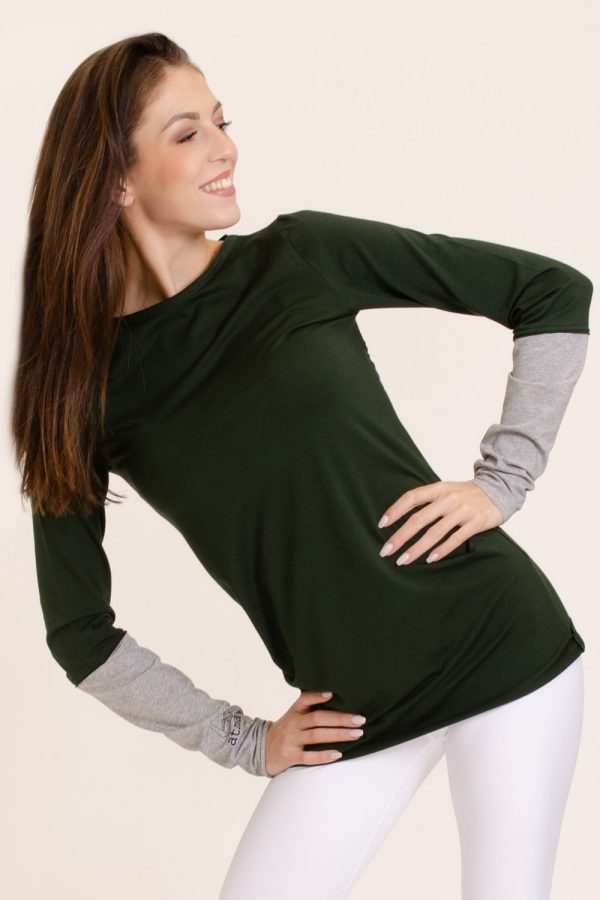 t-shirt asha abbigliamento yoga donna made in Italy colore foresta