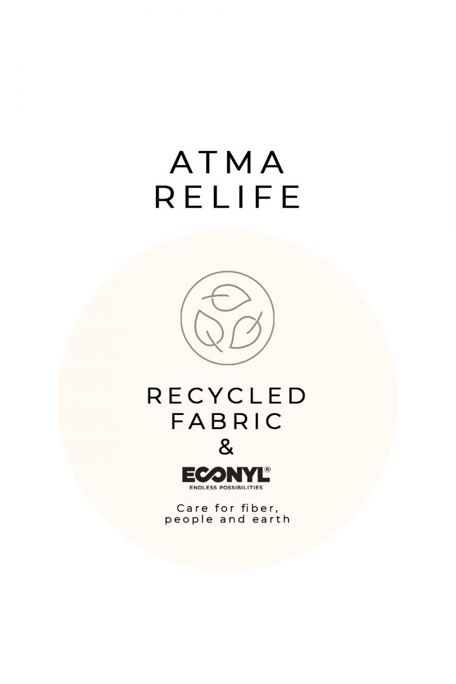 etichetta atma relife abbigliamento in fibra riciclata econyl