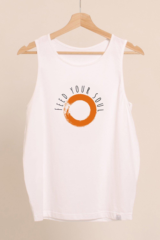 canotta chakra in cotone modal abbigliamento yoga donna made in Italy colore bianco ecosostenibile