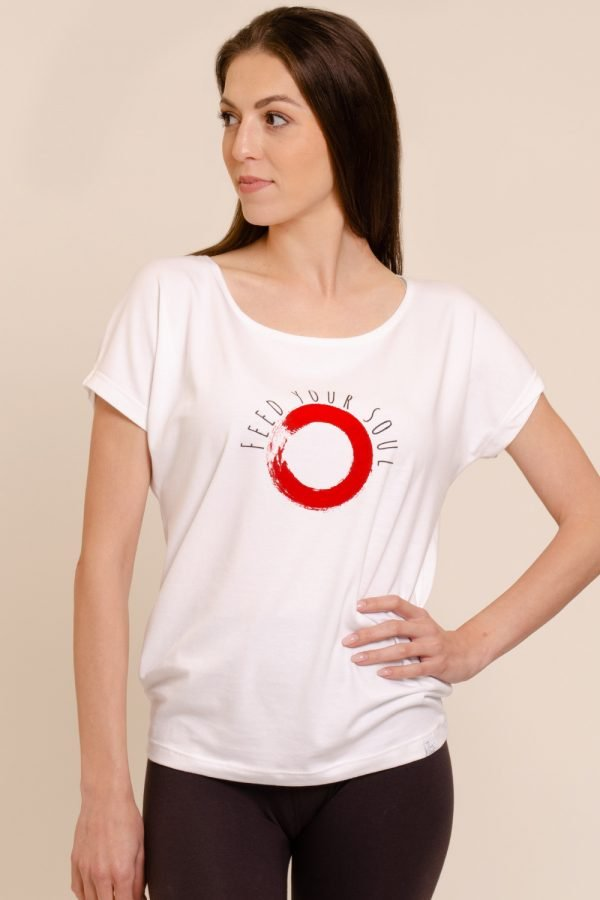 t-shirt chakra in cotone modal abbigliamento yoga donna made in Italy colore bianco ecosostenibile