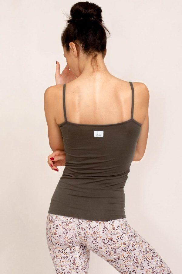 canotta mala abbigliamento yoga donna made in italy tencel colore choco tortora