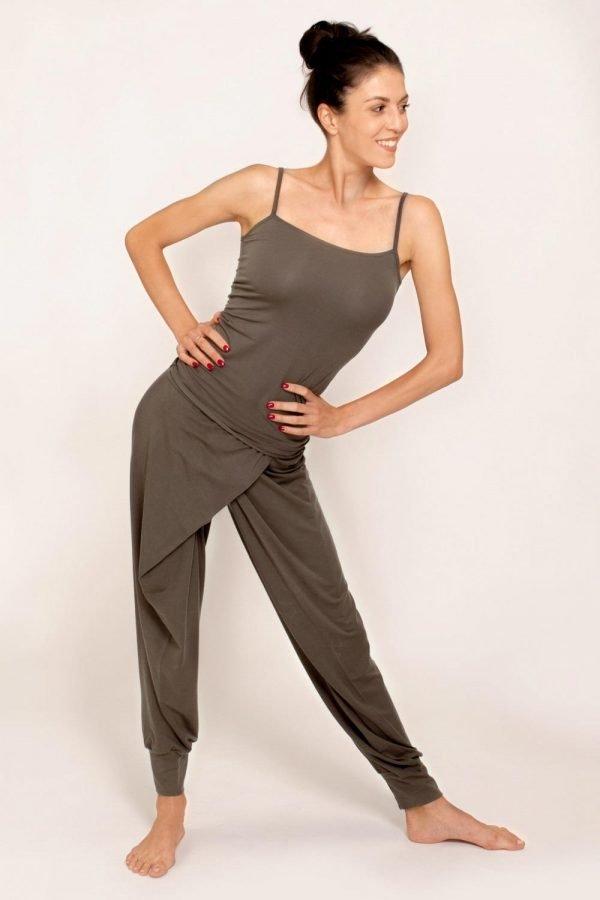 pantalone lakshmi abbigliamento yoga donna made in italy tencel colore choco tortora